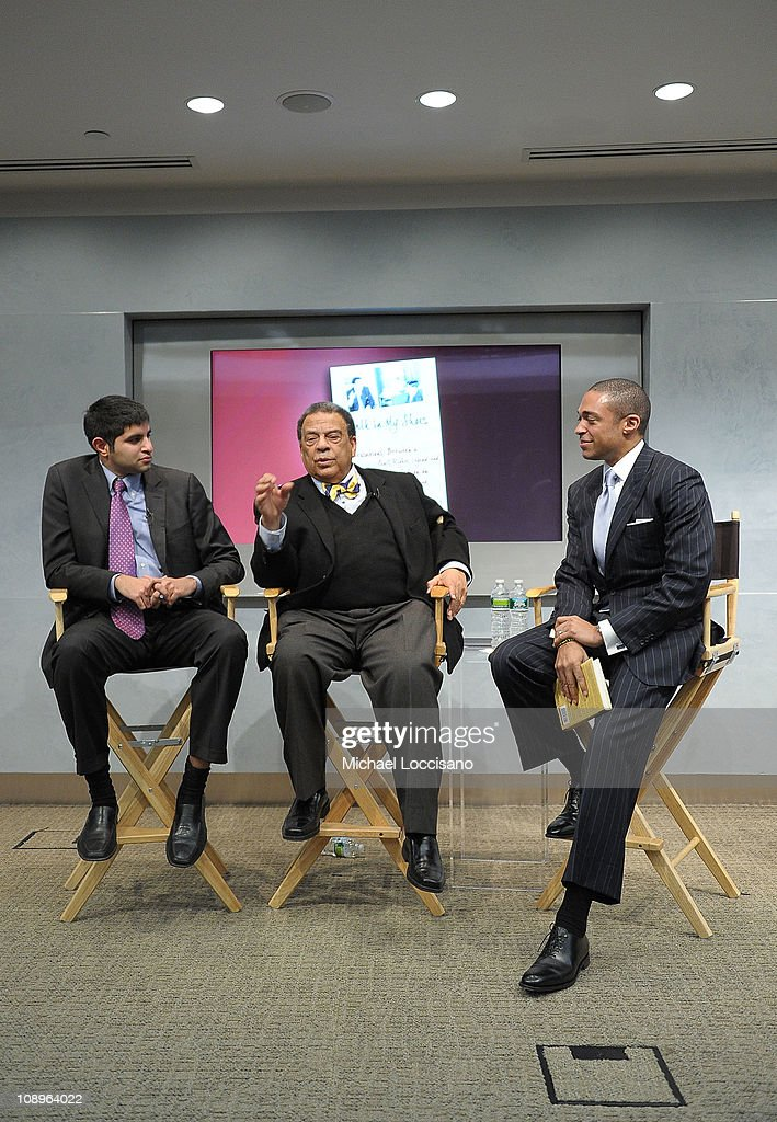 Author Kabir Sehgal, author Ambassador Andrew Young and host T.J. Holmes take part in the 'Walk In My Shoes: Conversations Between A Civil Rights Legend and His Godson on The Journey Ahead' book Event at The Paley Center for Media on February 9, 2011 in New York City.
