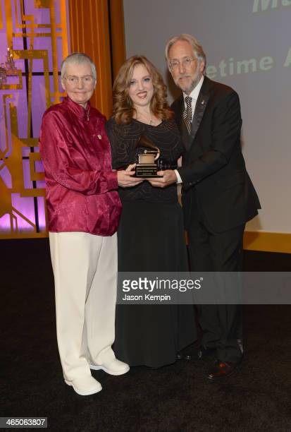 Author Karen A Shaffer violinist Rachel Barton Pine and The Recording Academy president/CEO Neil Portnow onstage at the Special Merit Awards Ceremony...