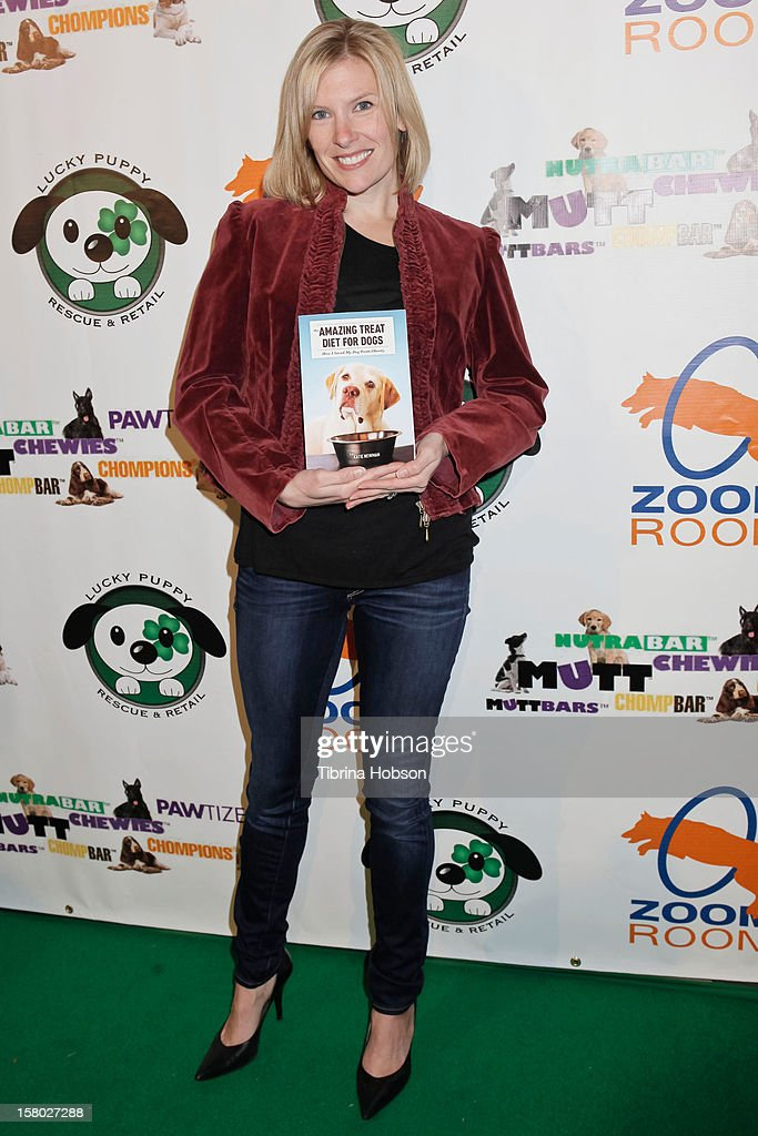 Author Katie Newman attends the Lucky Puppy Rescue and Retail grand opening on December 8, 2012 at Lucky Puppy Rescue in Studio City, California.