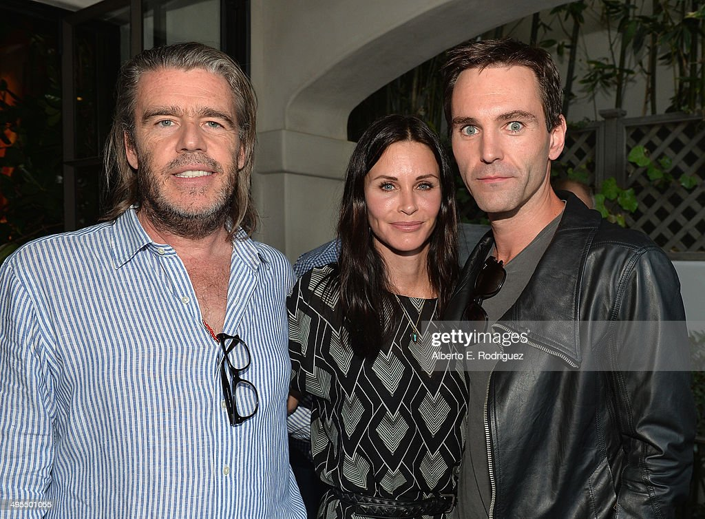 Author Kevin Morris, actress <a gi-track='captionPersonalityLinkClicked' href=/galleries/search?phrase=Courteney+Cox&family=editorial&specificpeople=203101 ng-click='$event.stopPropagation()'>Courteney Cox</a> and songwriter Johnny McDaid attend Kevin Morris' 'White Man's Problem' book release party on June 3, 2014 in Los Angeles, California.