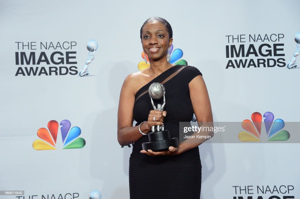 Author Kimberla Lawson Roby, winner of Outstanding Literary Work - Fiction for 'The Reverend's Wife,' poses in the press room during the 44th NAACP Image Awards at The Shrine Auditorium on February 1, 2013 in Los Angeles, California.