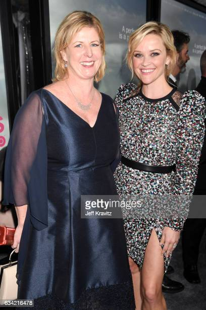 Author Liane Moriarty and actor/producer Reese Witherspoon attend the premiere of HBO's 'Big Little Lies' at the TCL Chinese Theater on February 7...
