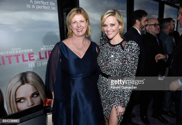 Author Liane Moriarty and actress Reese Witherspoon attend the premiere of HBO's 'Big Little Lies' at TCL Chinese Theatre on February 7 2017 in...