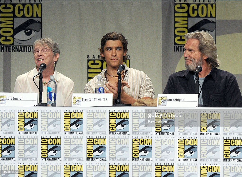 Author Lois Lowry actors Brenton Thwaites and Jeff Bridges attend the 'The Giver' presentation during ComicCon International 2014 at the San Diego...