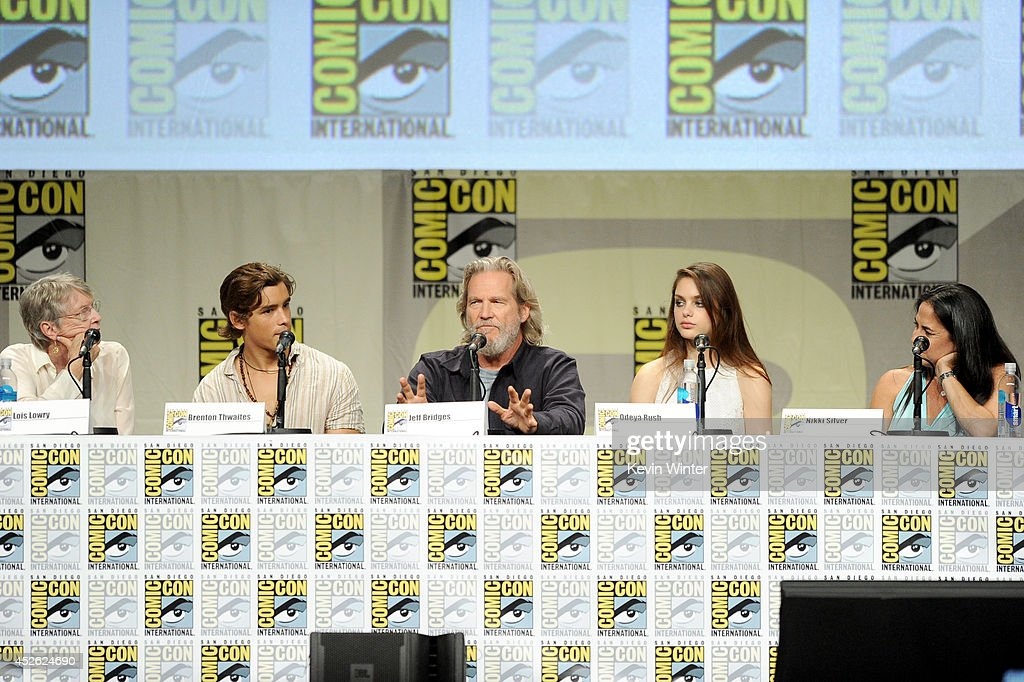 Author Lois Lowry actors Brenton Thwaites Jeff Bridges and Odeya Rush and producer Nikki Silver attend the 'The Giver' presentation during ComicCon...