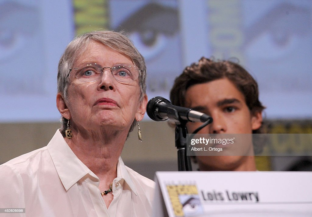 Author Lois Lowry and actor Brenton Thwaites attend the 'The Giver' presentation during ComicCon International 2014 at the San Diego Convention...