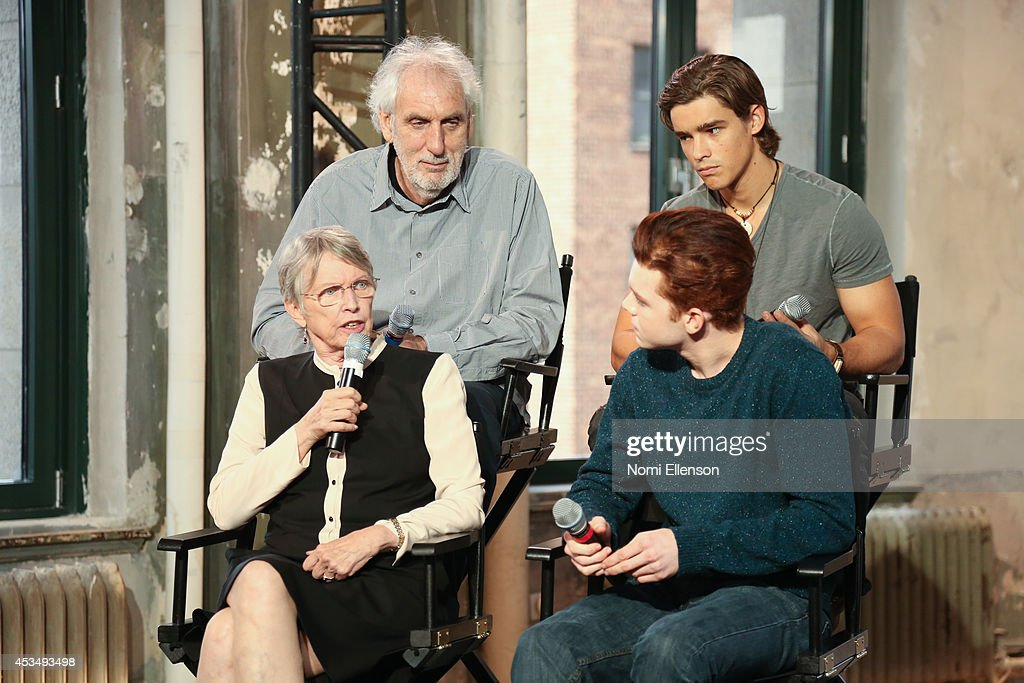 Author Louis Lowry actor Cameron Monaghan director Phillip Noyce and actor Brenton Thwaites attend AOL's Build Speaker Series Presents 'The Giver'...