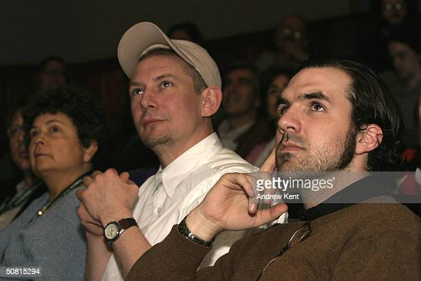 Author Lynne Elkin Ian Hart and Paul Schneider listen at the Unraveling The Code Rosalind Franklin and DNA panel during the 2004 Tribeca Film...