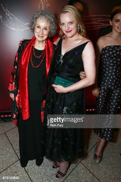 Author Margaret Atwood and actor Elisabeth Moss attend the premiere of Hulu's 'The Handmaid's Tale' at ArcLight Cinemas Cinerama Dome on April 25...