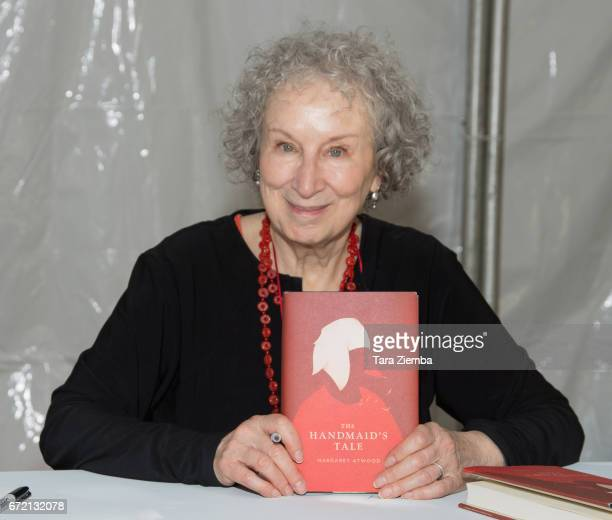 Author Margaret Atwood attends a book signing of 'The Handmaids Tale' at the Los Angeles Times Festival Of Books at USC on April 23 2017 in Los...