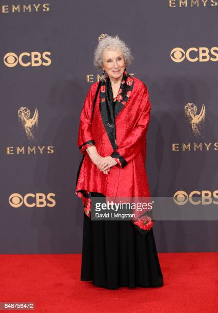 Author Margaret Atwood winner of the award for Outstanding Drama Series for 'The Handmaid's Tale' poses in the press room during the 69th Annual...