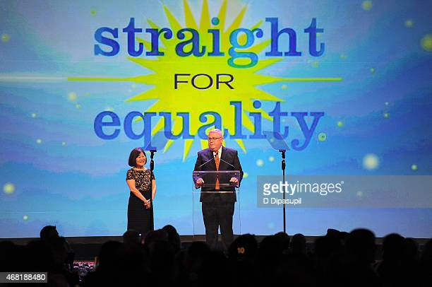 Author Marsha Aizumi and EVP of Wells Fargo Tim Hanlon speak onstage at the 7th Annual PFLAG National Straight For Equality Awards Gala at The New...