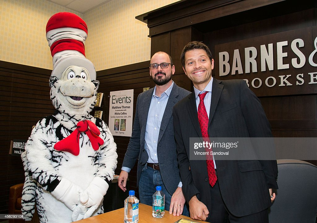 Author Matthew Thomas (C) and actor Misha Collins attend the Matthew Thomas and Misha Collins book signing for 'We Are Not Ourselves' at Barnes & Noble bookstore at The Grove on September 28, 2014 in Los Angeles, California.