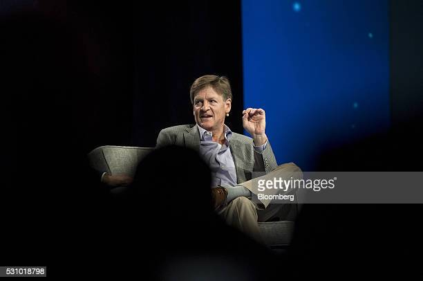 Author Michael Lewis speaks during the Skybridge Alternatives conference in Las Vegas Nevada US on Thursday May 12 2016 The SALT Conference...