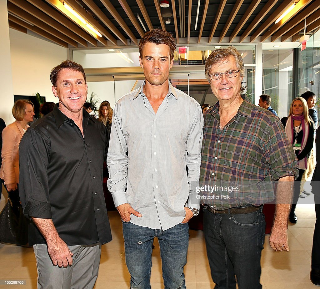 author Nicholas Sparks, actor <a gi-track='captionPersonalityLinkClicked' href=/galleries/search?phrase=Josh+Duhamel&family=editorial&specificpeople=208740 ng-click='$event.stopPropagation()'>Josh Duhamel</a> and director <a gi-track='captionPersonalityLinkClicked' href=/galleries/search?phrase=Lasse+Hallstrom&family=editorial&specificpeople=768265 ng-click='$event.stopPropagation()'>Lasse Hallstrom</a> attend the 'Safe Haven' AFM Reception at RealD Screening Room on November 2, 2012 in Beverly Hills, California.