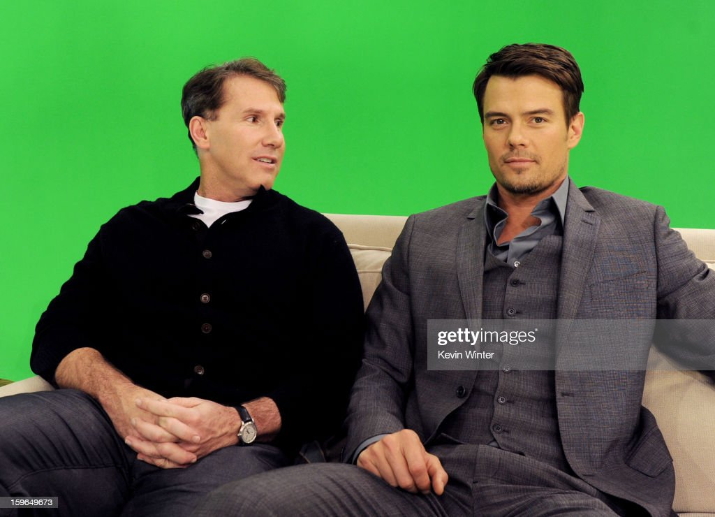 Author Nicholas Sparks (L) and actor Josh Duhamel pose at A Night with Nicholas Sparks' Safe Haven: Filmmakers, Author and Stars Bring The Book To Life at Castle Studios on January 17, 2013 in Burbank, California.