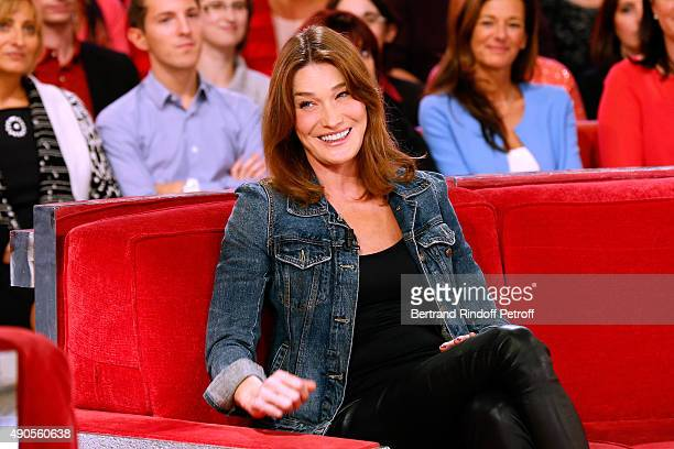 Author of songs from Christophe Willem's new Album 'Paraitil' Carla Bruni attends the 'Vivement Dimanche' French TV Show at Pavillon Gabriel on...