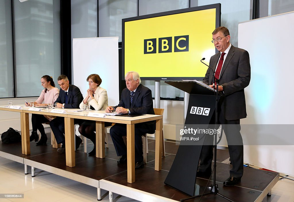 Author of the 'Pollard Review' Nick Pollard discusses his report during a press conference at BBC Broadcasting House as (L-R) Alison Hastings ,Chair of the BBC Trust Editorial Standards Committee, Tim Davie, Acting Director General, Dame Fiona Reynolds, BBC Senior Independent Director and Lord Patten, BBC Trust Chairman listen on December 19, 2012 in London, England. The BBC Trust has announced the findings of the Pollard Review into the corporation's handling of sexual abuse allegations against former employee Jimmy Savile.