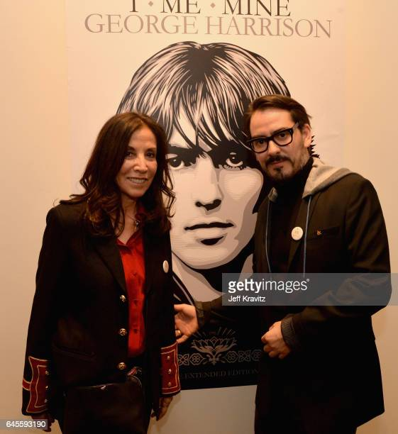 Author Olivia Harrison and singersongwriter Dhani Harrison attend the 'I ME MINE' George Harrison book launch at Subliminal Projects Gallery on...