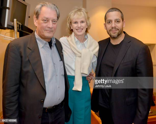Author Paul Auster Siri Hustvedt and Magicians David Blaine pose for picture backstage before preforming during An Evening with Paul Auster friends...