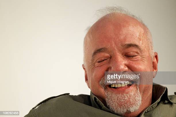 Author Paulo Coelho smiles with closed eyes during the Digital Life Design conference at HVB Forum on January 23 2011 in Munich Germany DLD brings...