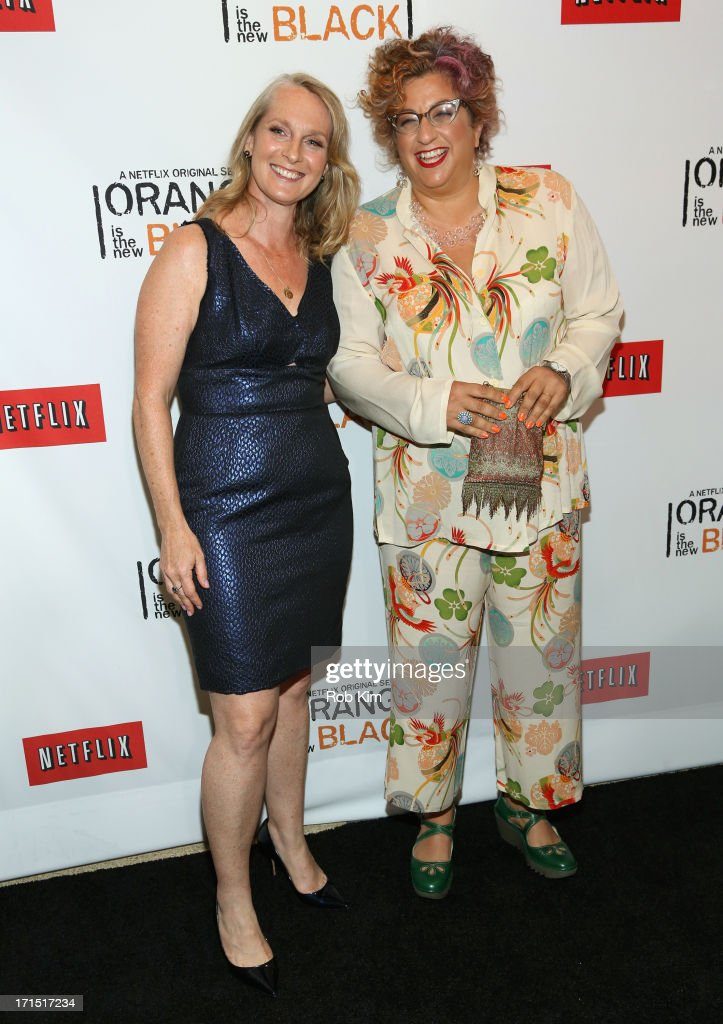 Author Piper Kerman (L) and Writer and Producer <a gi-track='captionPersonalityLinkClicked' href=/galleries/search?phrase=Jenji+Kohan&family=editorial&specificpeople=854240 ng-click='$event.stopPropagation()'>Jenji Kohan</a> attend 'Orange Is The New Black' New York Premiere at The New York Botanical Garden on June 25, 2013 in New York City.