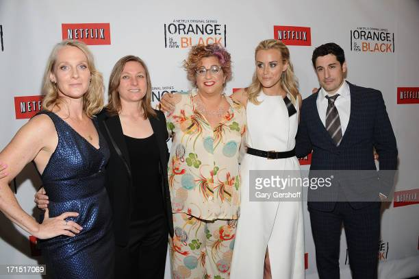 Author Piper Kerman VP of Original Content Netfilx Cindy Holland writer Jenji Kohan and actors Taylor Schilling and Jason Biggs attend 'Orange Is The...
