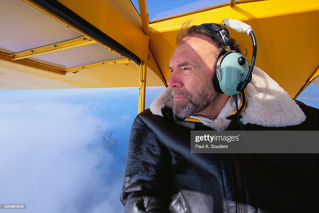 Author Richard Bach Flying in Airplane