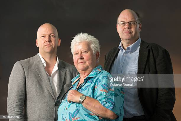 Author Richard T Kelly and English journalist Scottish crime writer Val McDermid and broadcaster and author Mark Lawson attend a photocall at...