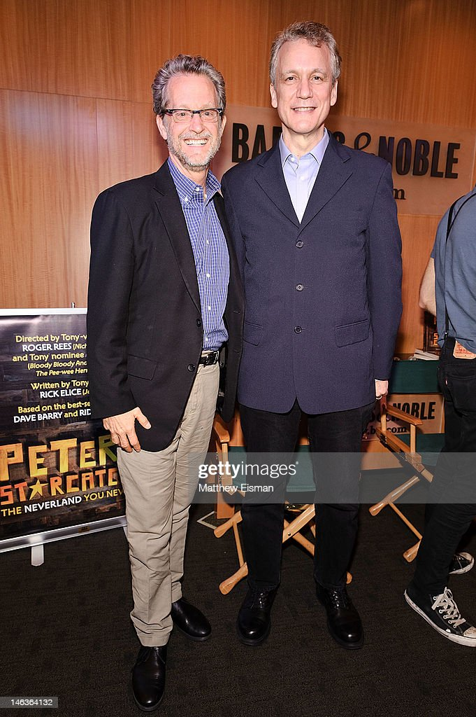 Author Ridley Pearson (L) and playwright Rick Elice attend the 'Peter And The Starcatcher' Q & A and Autograph Signing at Barnes & Noble, 86th & Lexington on June 14, 2012 in New York City.