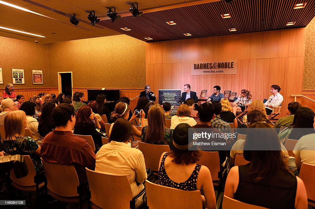 Author Ridley Pearson, playwright Rick Elice, actor Adam Chanler-Berat, actress Celia Keenan-Bolger and actor Christian Borle attend the 'Peter And The Starcatcher' Q & A and Autograph Signing at Barnes & Noble, 86th & Lexington on June 14, 2012 in New York City.