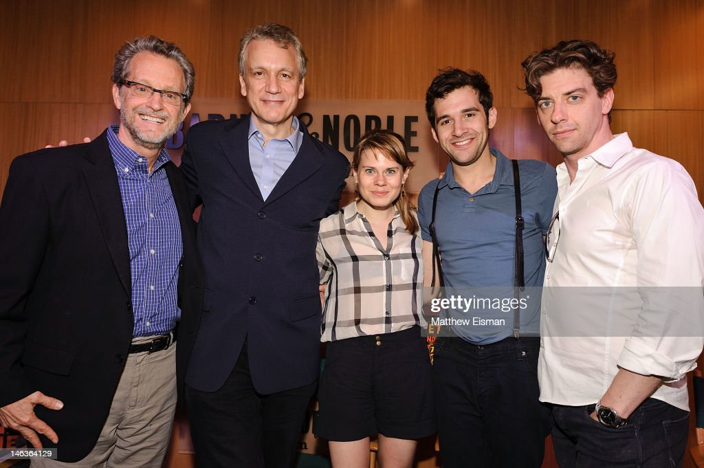 Author Ridley Pearson, playwright Rick Elice, actress Celia Keenan-Bolger, actor Adam Chanler-Berat and actor <a gi-track='captionPersonalityLinkClicked' href=/galleries/search?phrase=Christian+Borle&family=editorial&specificpeople=2530960 ng-click='$event.stopPropagation()'>Christian Borle</a> attend the 'Peter And The Starcatcher' Q & A and Autograph Signing at Barnes & Noble, 86th & Lexington on June 14, 2012 in New York City.