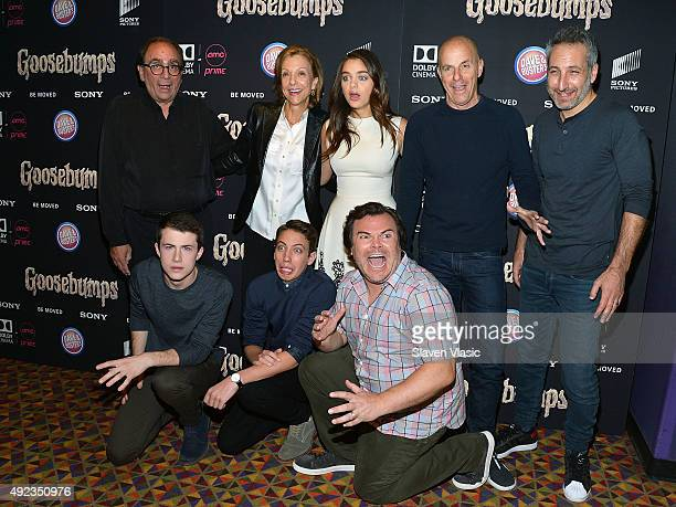 Author RL Stine guest actress Odeya Rush guest director Rob Letterman actors Dylan Minnette Ryan Lee and Jack Black attend 'Goosebumps' New York...