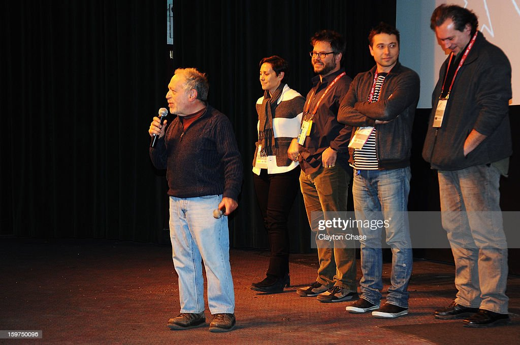 Author Robert Reich, producer Jen Chaiken, director Jacob Kornbluth, producer Sebastian Dungan speak onstage during the 'Inequality For All' premiere at Prospector Square during the 2013 Sundance Film Festival on January 19, 2013 in Park City, Utah.
