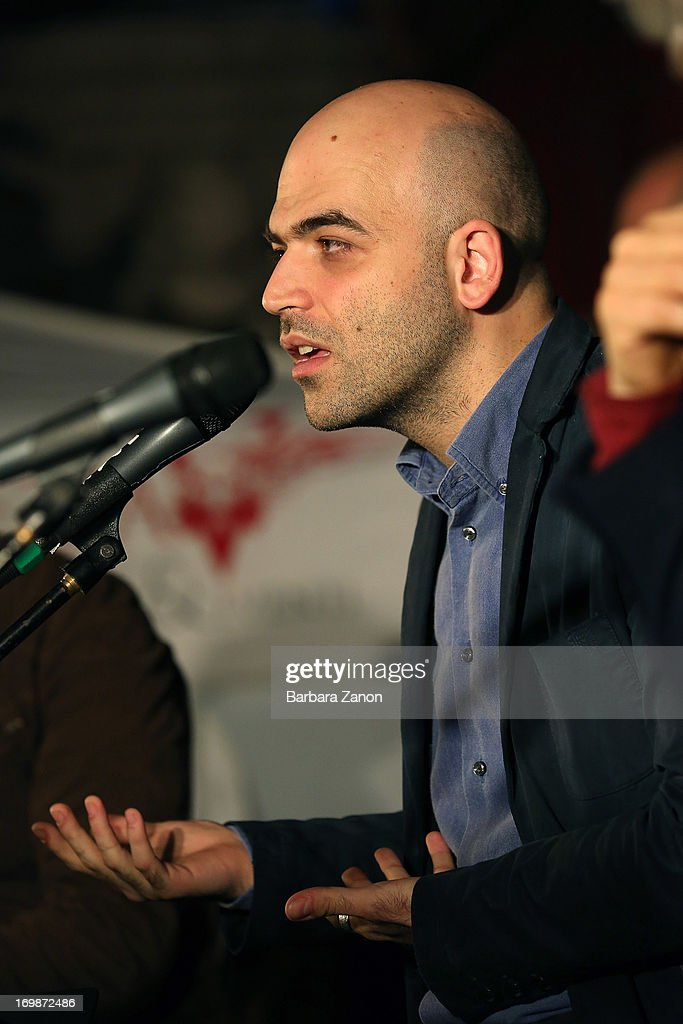 Author Roberto Saviano presents the book 'ZeroZeroZero' at La Toletta bookshop at La Pescheria di Rialto on June 3, 2013 in Venice, Italy. Italian author and journalist Saviano lives under police escort since 2006, after the publication of his book 'Gomorrah'.