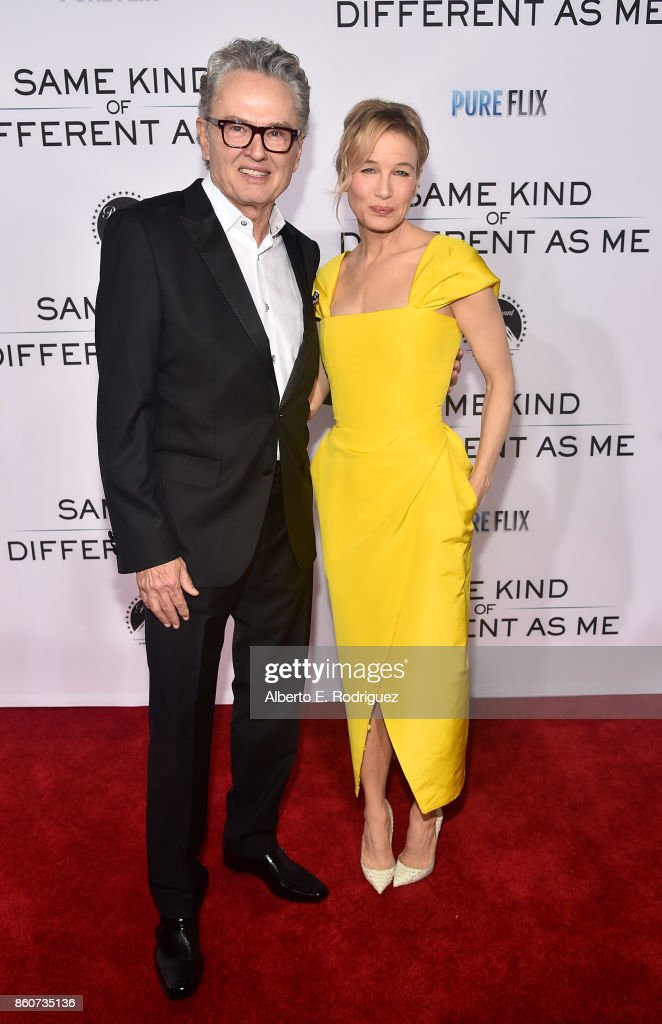 Author Ron Hall and actress Renee Zellweger attend the premiere of Paramount Pictures and Pure Film Entertainment's 'Same Kind Of Different As Me' at Westwood Village Theatre on October 12, 2017 in Westwood, California.