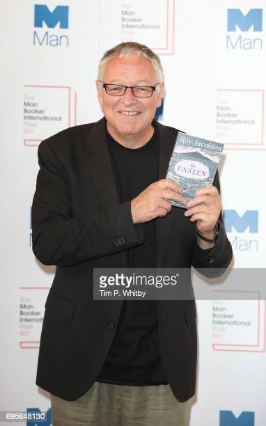 Author Roy Jacobsen of Norway with the book 'The Unseen' at a photocall for the shortlisted authors and translators for the Man Booker International...