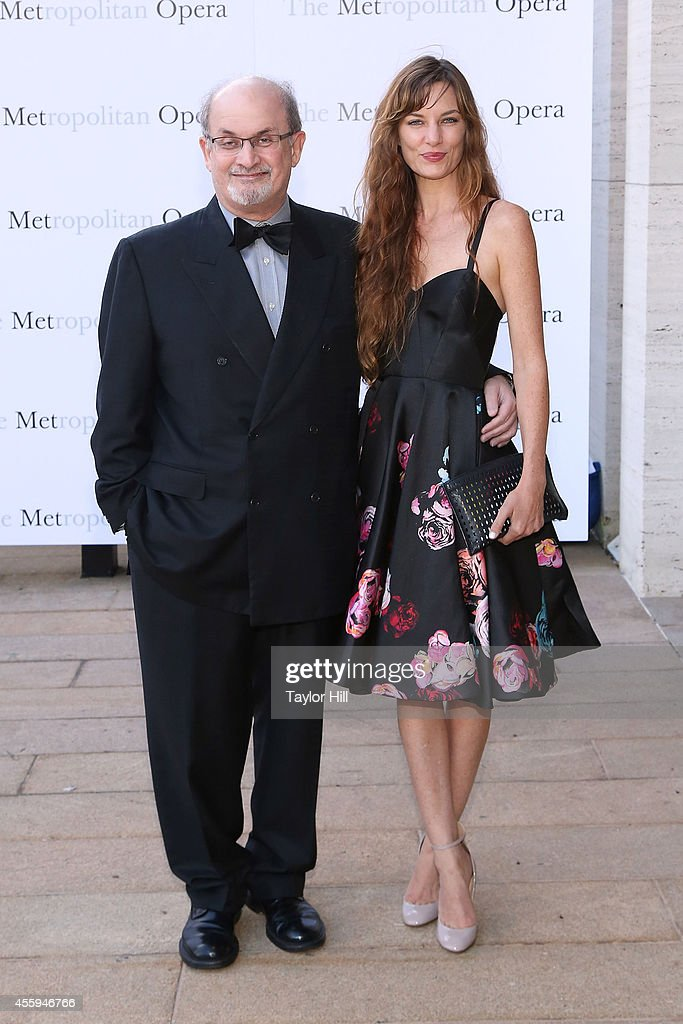 Author Salman Rushdie and Topaz PageGreen attend the season opening performace of 'The Marriage of Figaro' at The Metropolitan Opera House on...