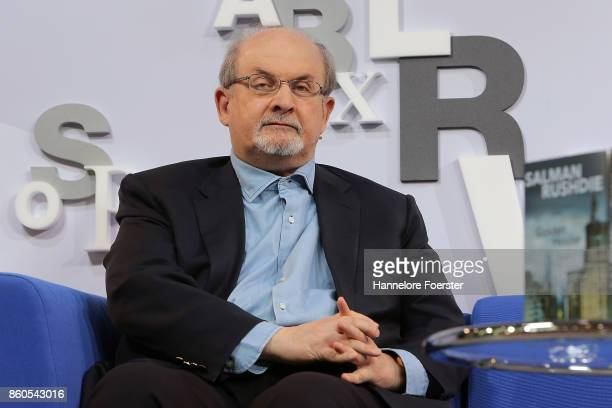 Author Salman Rushdie at the Blue Sofa at the 2017 Frankfurt Book Fair on October 12 2017 in Frankfurt am Main Germany The 2017 fair which is among...