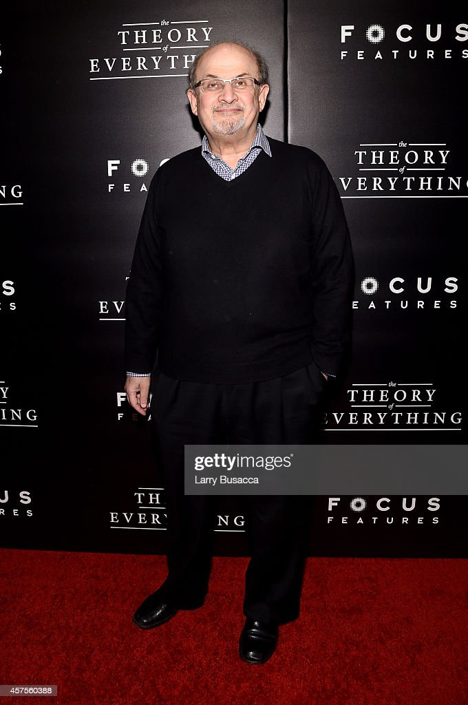 Author <a gi-track='captionPersonalityLinkClicked' href=/galleries/search?phrase=Salman+Rushdie&family=editorial&specificpeople=203293 ng-click='$event.stopPropagation()'>Salman Rushdie</a> attends 'The Theory Of Everything' New York Premiere at Museum of Modern Art on October 20, 2014 in New York City.