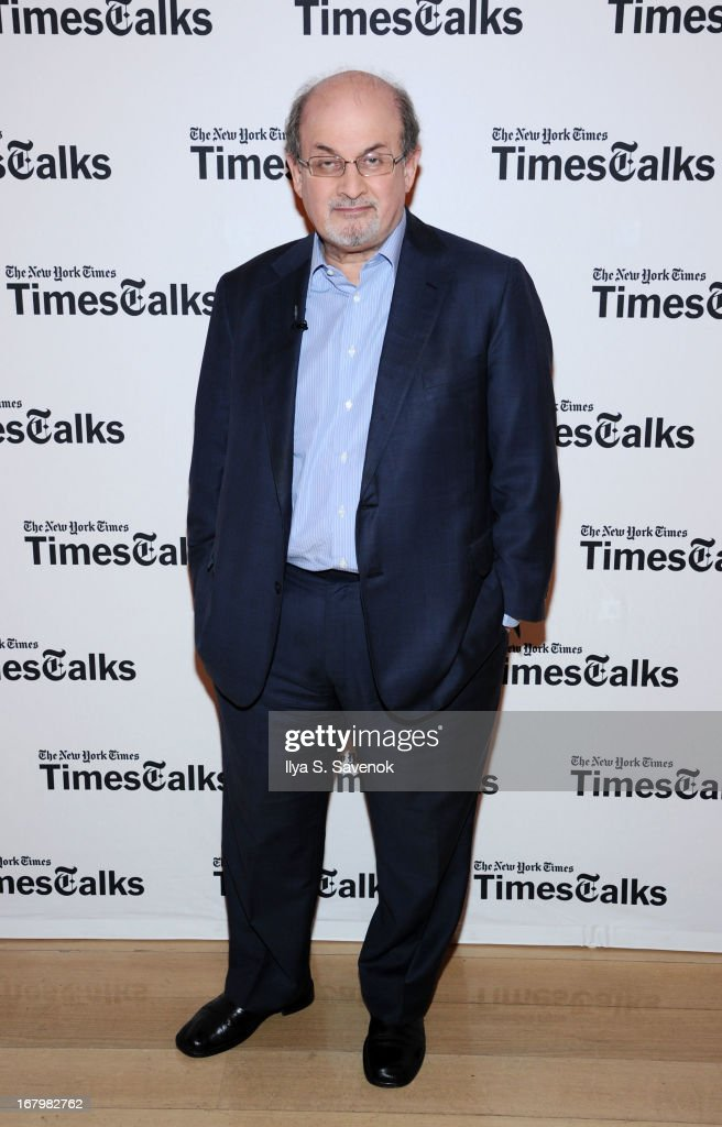 Author <a gi-track='captionPersonalityLinkClicked' href=/galleries/search?phrase=Salman+Rushdie&family=editorial&specificpeople=203293 ng-click='$event.stopPropagation()'>Salman Rushdie</a> attends TimeTalks Presents: Freedom and Moral Courage <a gi-track='captionPersonalityLinkClicked' href=/galleries/search?phrase=Salman+Rushdie&family=editorial&specificpeople=203293 ng-click='$event.stopPropagation()'>Salman Rushdie</a> and Ai Wei Wei at Times Center on May 3, 2013 in New York City.