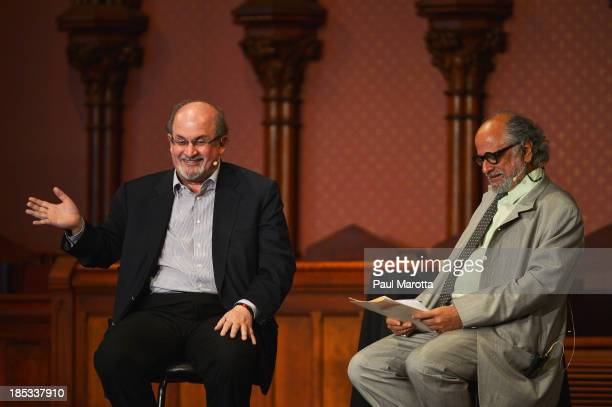 Author Salman Rushdie delivers the 2013 Boston Book Festival Keynote Speech moderated by Harvard University's Homi K Bhabha at Old South Sanctuary on...