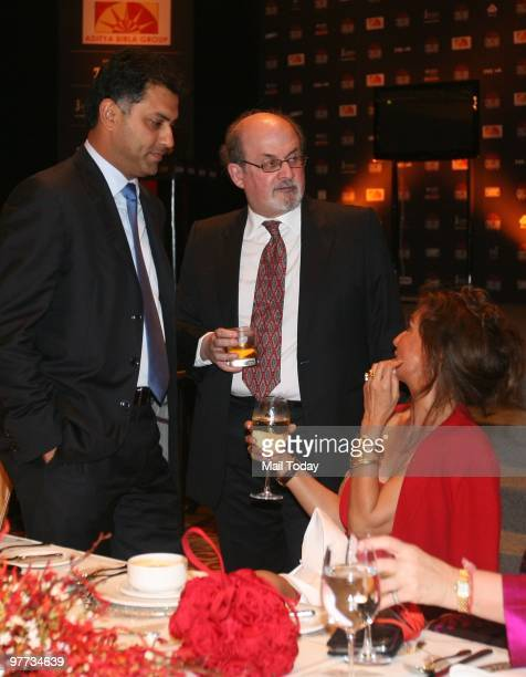 Author Salman Rushdie has a word with Parmeshwar Godrej at the dinner party hosted after the India Today Conclave ended in New Delhi on March 13 2010