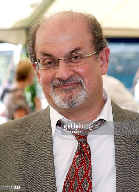 Author Salman Rushdie inside the Cartier Tent during the Cartier International Polo held at Guards Polo Club on July 27 2008 in Windsor England