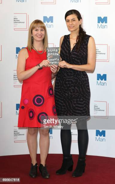 Author Samanta Schweblin of Argentina and translator Megan McDowell of the United States of America with the book 'Fever Dream' at a photocall for...