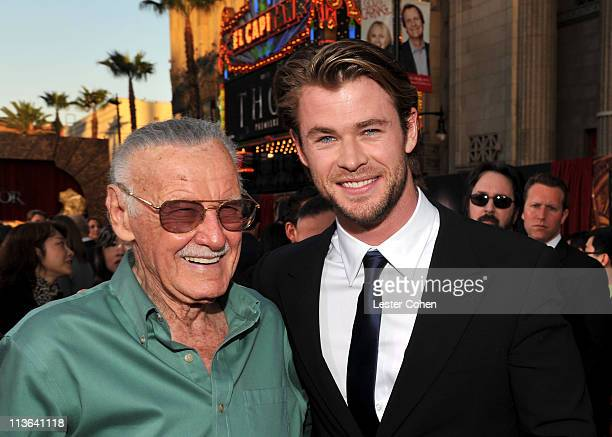 Author Stan Lee and actor Chris Hemsworth arrive at the Los Angeles premiere of 'Thor' at the El Capitan Theatre on May 2 2011 in Hollywood California