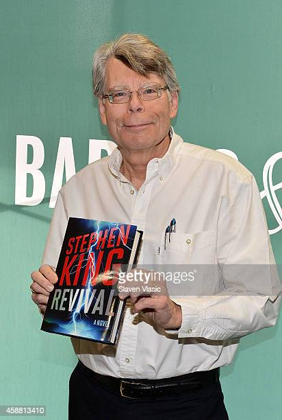 Author Stephen King signs the copies of his book 'Revival' at Barnes Noble Union Square on November 11 2014 in New York City
