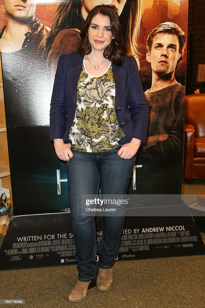 Author <a gi-track='captionPersonalityLinkClicked' href=/galleries/search?phrase=Stephenie+Meyer&family=editorial&specificpeople=5476076 ng-click='$event.stopPropagation()'>Stephenie Meyer</a> arrives at the celebration of the film release of 'The Host' at Barnes & Noble bookstore at The Grove on March 15, 2013 in Los Angeles, California.