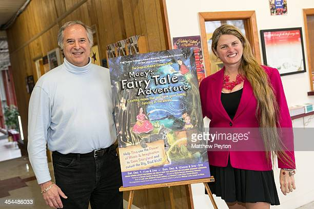 Author Stewart F Lane aka 'Mr Broadway' and producer Bonnie Comley pose together at Moey's Fairytale Adventure World Premiere at Dix Hills Performing...