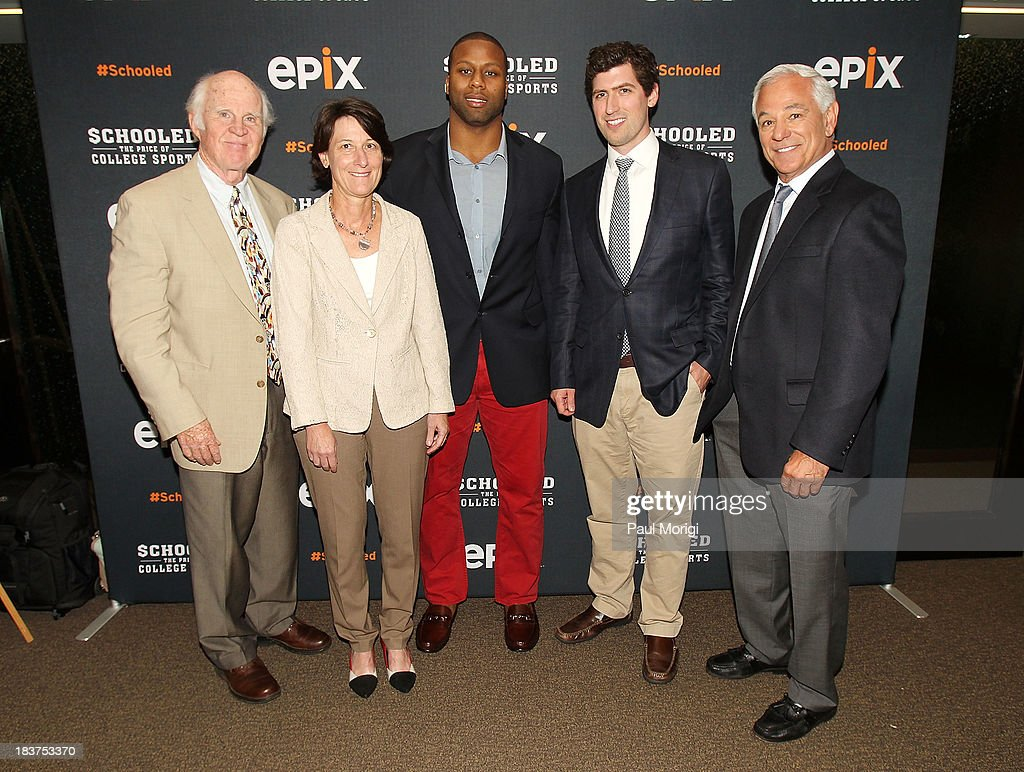 Author Taylor Branch, UNC Learning Specialist Mary Willingham, former UNC player Devon Ramsay, Producer Andrew Muscato and former MLB Manager <a gi-track='captionPersonalityLinkClicked' href=/galleries/search?phrase=Bobby+Valentine&family=editorial&specificpeople=214135 ng-click='$event.stopPropagation()'>Bobby Valentine</a>, attend the EPIX screening of the original documentary 'Schooled: The Price of College Sports' at The NCTA Building on October 9, 2013 in Washington, DC.